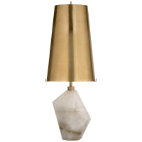 Halcyon Accent Table Lamp in Quartz with Antique Brass Shade