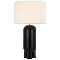 Chalon Large Table Lamp in Matte Black with Linen Shade