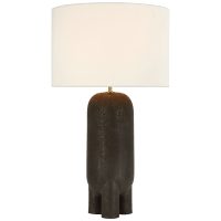 Chalon Large Table Lamp in Stained Black Metallic with Linen Shade