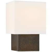 Pari Small Square Table Lamp in Stained Black Metallic with Linen Shade