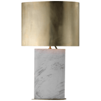 Murry Large Teardrop Table Lamp in White Marble with Antique-Burnished Brass Shade