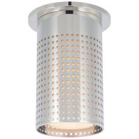 Precision Short Monopoint Flush Mount in Polished Nickel with White Glass