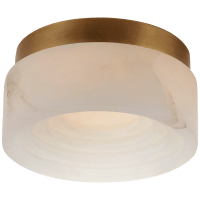 """Otto 5"""" Solitaire Flush Mount in Antique-Burnished Brass with Alabaster"""