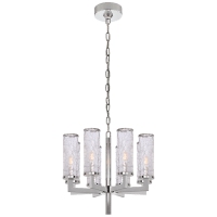 Liaison Single Tier Chandelier in Polished Nickel with Crackle Glass