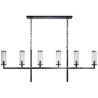 Liaison Large Linear Chandelier in Bronze with Crackle Glass