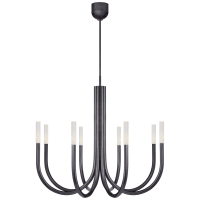 Rousseau Medium Chandelier in Bronze with Seeded Glass