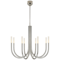 Rousseau Medium Chandelier in Polished Nickel with Etched Crystal