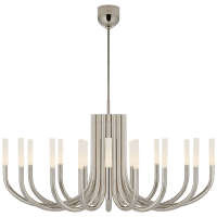Rousseau Large Oval Chandelier in Polished Nickel with Etched Crystal