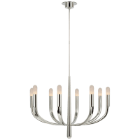 Verso Large Chandelier in Polished Nickel with Alabaster