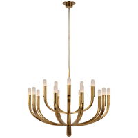 Verso Grande Tiered Chandelier in Antique-Burnished Brass with Alabaster