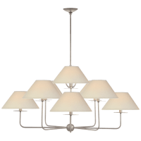 Kelley Large Chandelier in Burnished Silver Leaf with Linen Shades