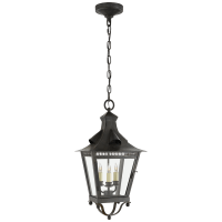 Orleans Medium Hanging Lantern in French Rust with Clear Glass