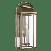 Wellsworth Medium Lantern Painted Distressed Brass