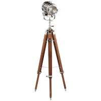 Montauk Search Light Floor Lamp in Mahogany and Polished Nickel