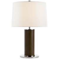 Beckford Table Lamp in Chocolate with Linen Shade
