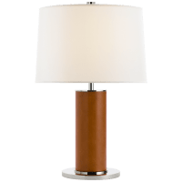 Beckford Table Lamp in Saddle Leather with Linen Shade