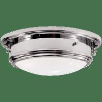 Marine Porthole Medium Flush Mount in Polished Nickel with White Glass