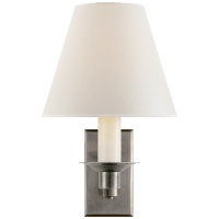 Evans Library Sconce in Antique Nickel with Percale Shade