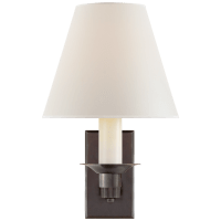 Evans Library Sconce in Bronze with Percale Shade
