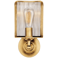 Rivington Shield Sconce in Natural Brass with Ribbed Mirror