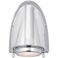 Grant Small Sconce in Polished Nickel with Industrial Prismatic Glass