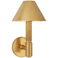 Barrett Small Single Knurled Sconce in Natural Brass with Natural Brass Shades