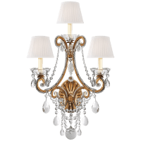 Adrianna Triple Sconce in Gilded Iron and Crystal with Silk Shades