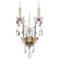 Alessandra Large Chandelier Sconce in Gilded Iron with Crystal