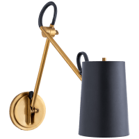 Benton Double Library Sconce in Natural Brass with Navy Leather Shade