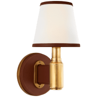 Riley Single Sconce in Natural Brass and Saddle Leather with Leather Trimmed Linen Shades