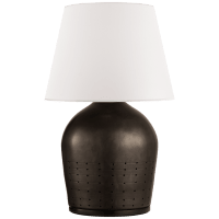 Halifax Small Table Lamp in Black Ceramic with White Paper Shade