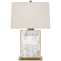 Ellis Bedside Lamp in Natural Brass and Quartz with Percale Shade
