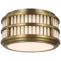 """Perren 12"""" Flush Mount in Natural Brass and Glass Rods"""