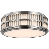 """Perren 18"""" Flush Mount in Polished Nickel and Glass Rods"""