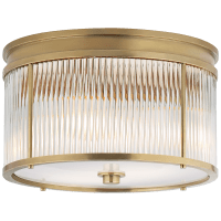 Allen Medium Round Flush Mount in Natural Brass and Glass Rods with White Glass