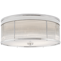 Allen Large Round Flush Mount in Polished Nickel and Glass Rods with White Glass