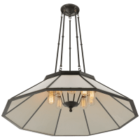 Rivington Large Ten-Paneled Chandelier in Bronze with White Glass