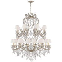 Adrianna Large Chandelier in Antique Silver Leaf and Crystal with Silk Shades