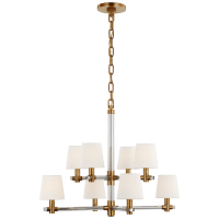 Sable Small Chandelier in Crystal and Natural Brass with Linen Shades