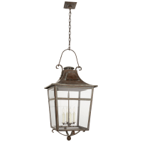 Carrington Large Lantern in Weathered Verdigris with Clear Glass