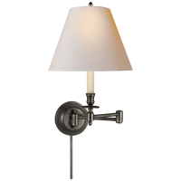 Candlestick Swing Arm in Bronze with Natural Paper Shade
