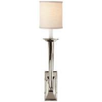 French Deco Horn Sconce in Polished Nickel with Linen Shade