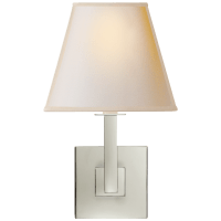 Architectural Wall Sconce in Polished Nickel with Square Natural Paper Shade