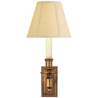 French Single Library Sconce in Hand-Rubbed Antique Brass with Tissue Shade