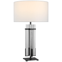 Malik Large Table Lamp in Bronze and Crystal with Linen Shade