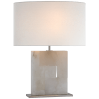 Ashlar Medium Table Lamp in Alabaster and Polished Nickel with Linen Shade