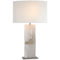 Ashlar Large Table Lamp in Alabaster and Polished Nickel with Linen Shade