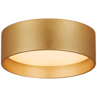 """Shaw 5"""" Solitaire Flush Mount in Gild with White Glass"""