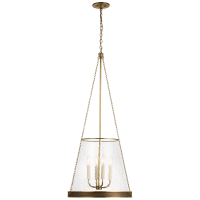 "Reese 18"" Pendant in Soft Brass with Clear Glass"