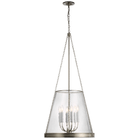 """Reese 23"""" Pendant in Polished Nickel with Clear Restoration Glass"""
